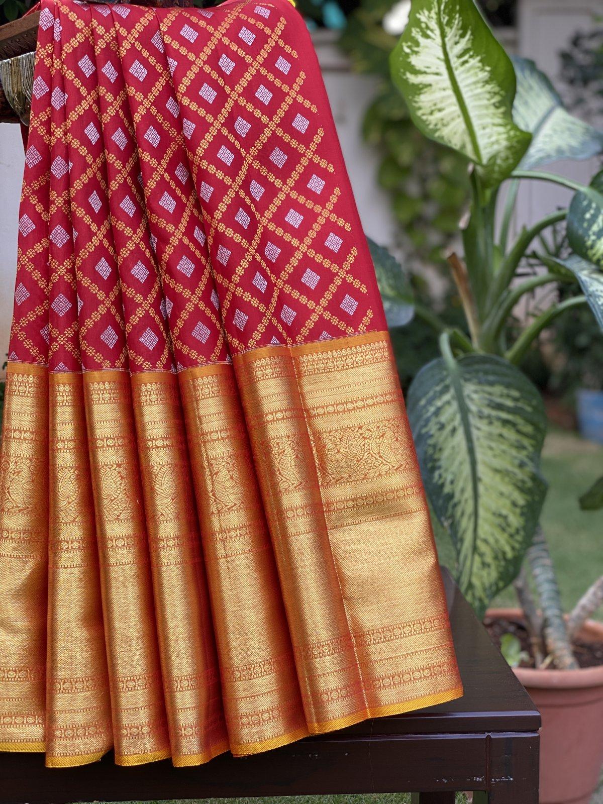 Red Kanjeevaram Pavada