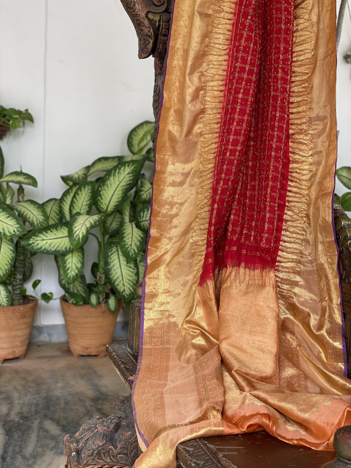 Ruby Red Bandhej Kanchi Saree