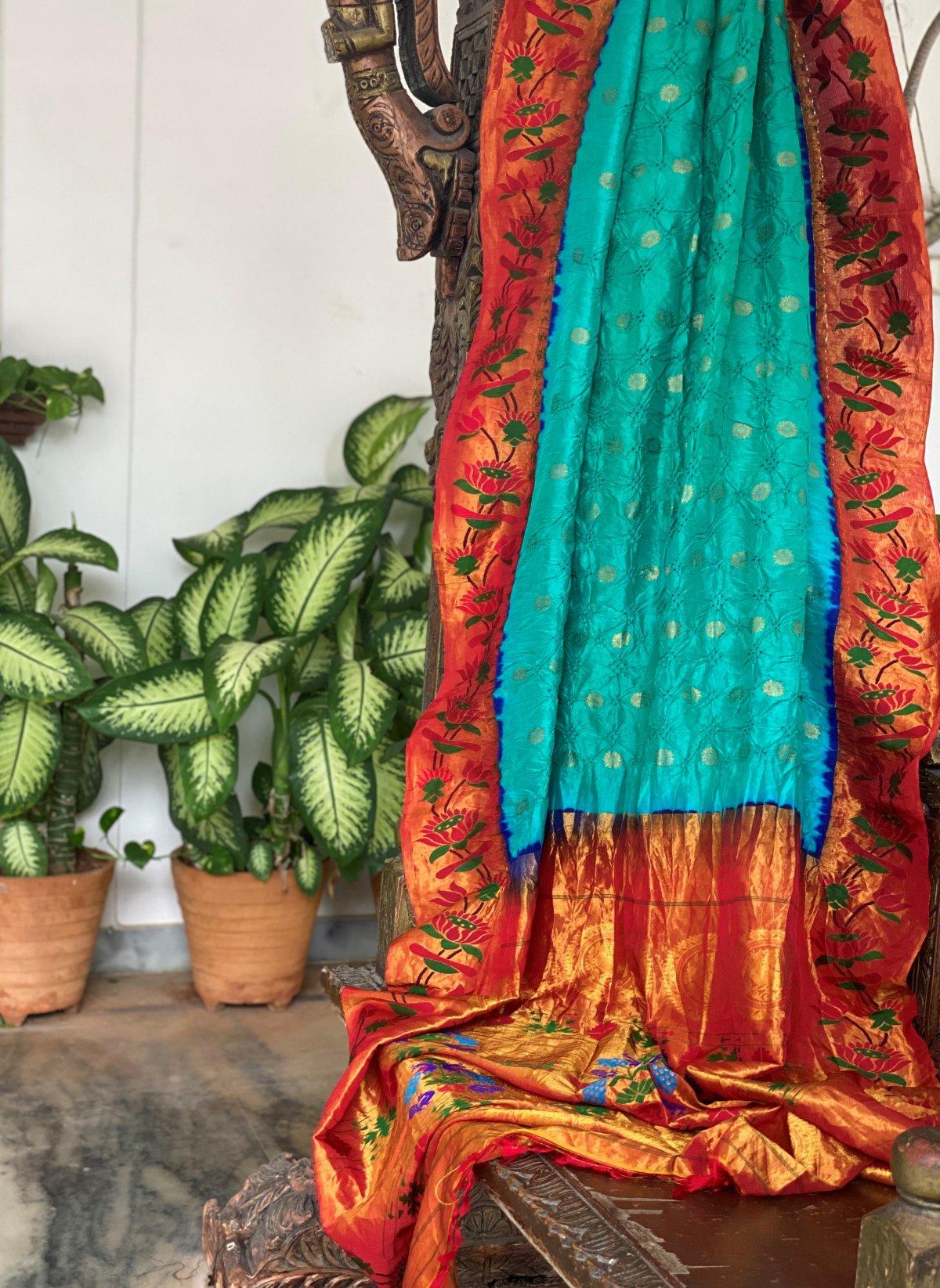 Turquoise Blue Bandhej Kanchi Saree