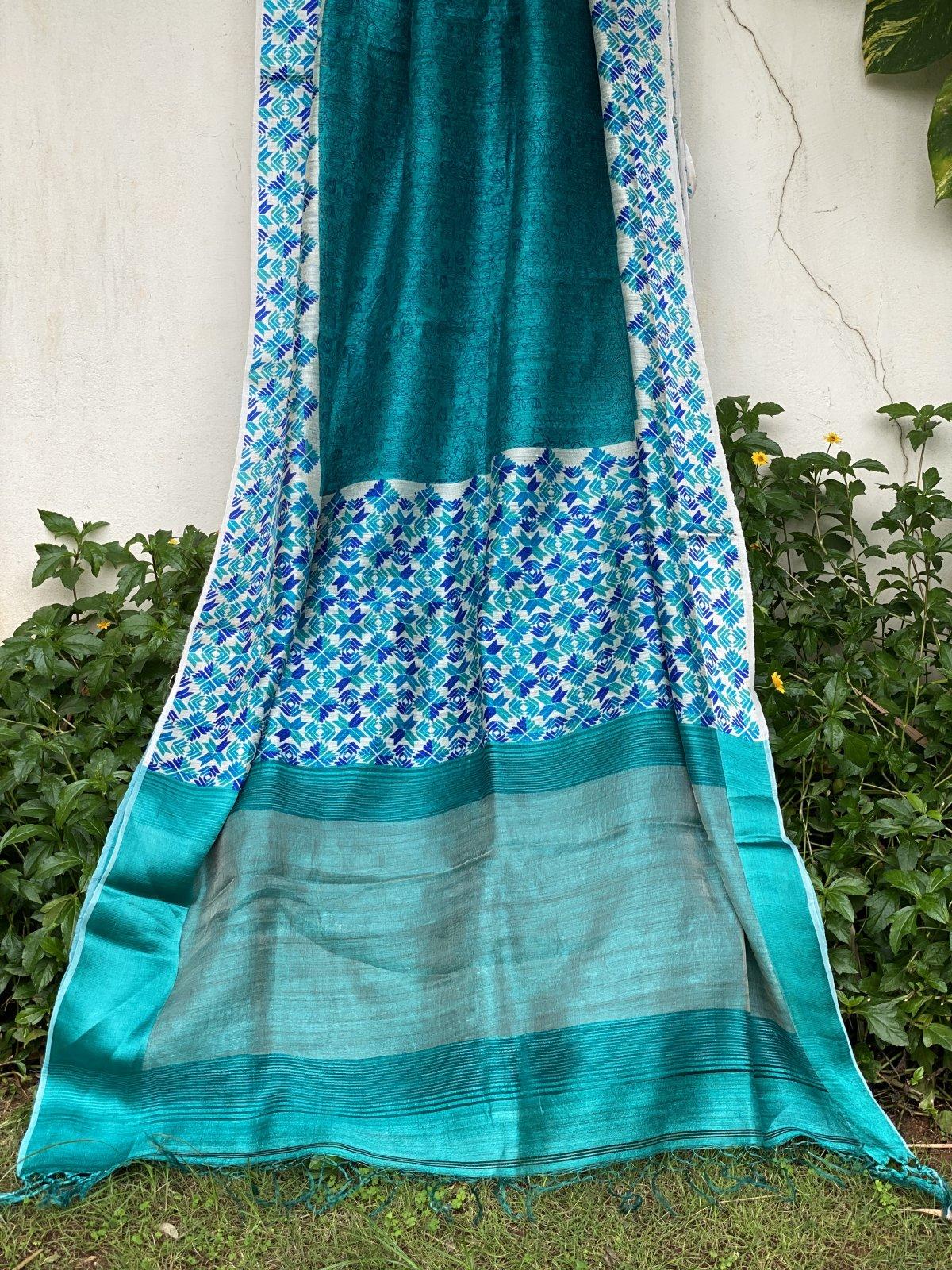 Sky Blue Tussar Saree