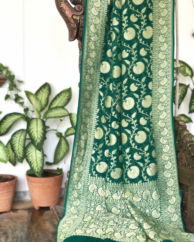 Bottle Green Georgette Saree